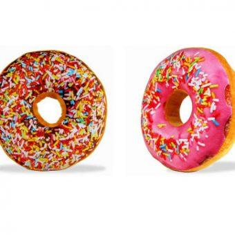 Donut-Kissen pink und braun